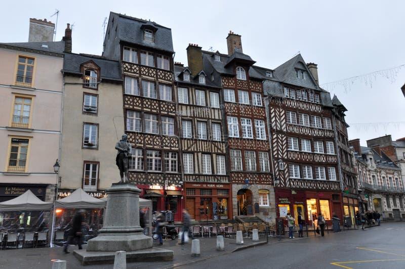 Colombage房子在雷恩,法国 免版税图库摄影