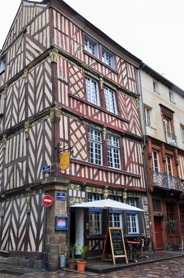 Colombage房子在雷恩,法国 图库摄影