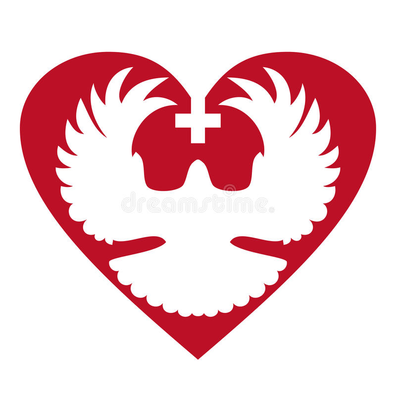 Colombe au coeur avec la croix illustration de vecteur