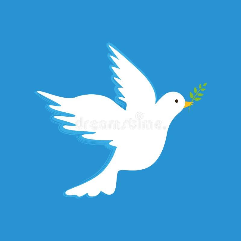 Colombe blanche de paix avec la branche sur le fond bleu illustration de vecteur