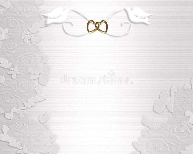 Colombe di bianco dell'invito di cerimonia nuziale royalty illustrazione gratis