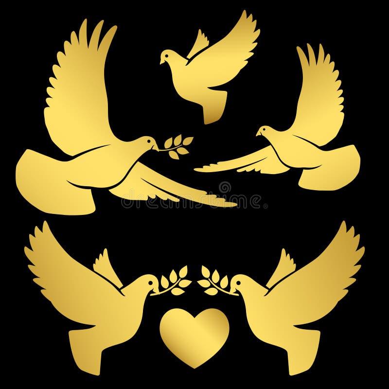 Colombe di volo dell'oro sul nero illustrazione di stock