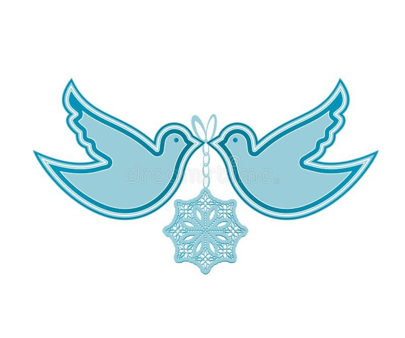 Colombe e fiocco di neve illustrazione di stock