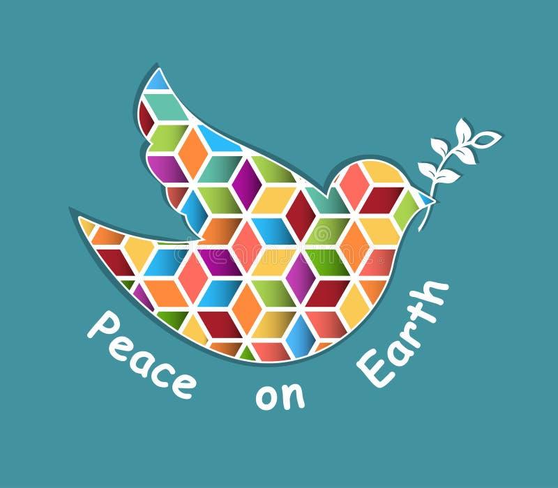 Colombe en verre souillé d'oiseau de paix illustration stock