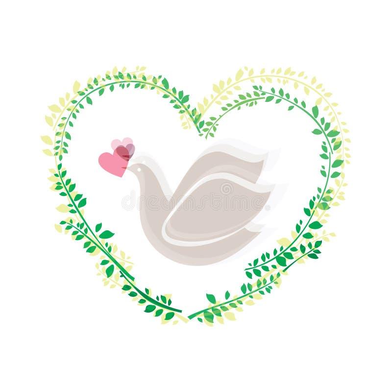 Colombe et coeur illustration libre de droits