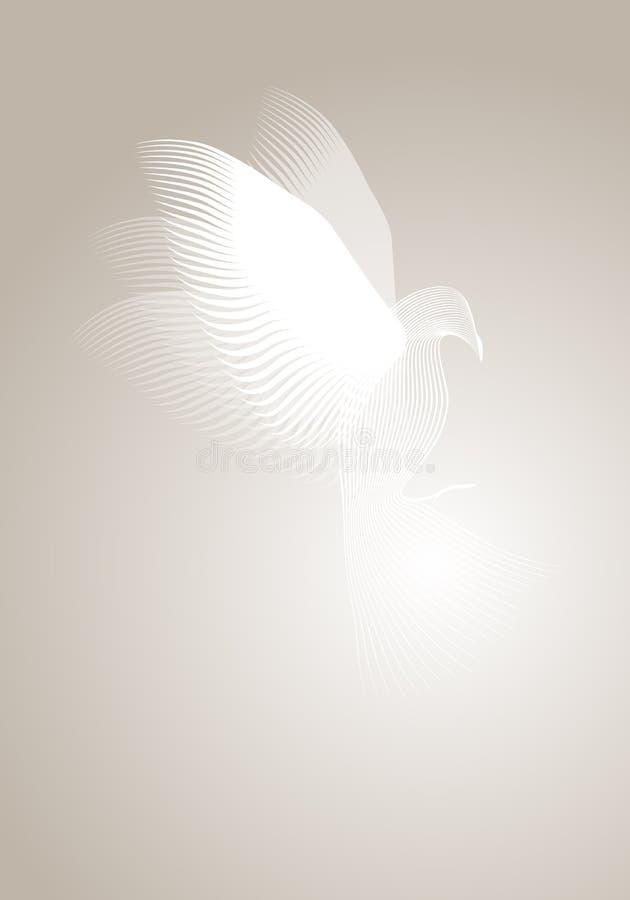 Colombe magique faite avec des lignes sur le fond brumeux illustration libre de droits