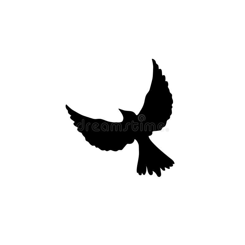 Colombe volante d'isolement sur le fond blanc Illustration de vecteur Icône plate illustration libre de droits