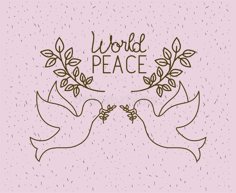Colombes volant avec la paix du monde de guirlande illustration stock