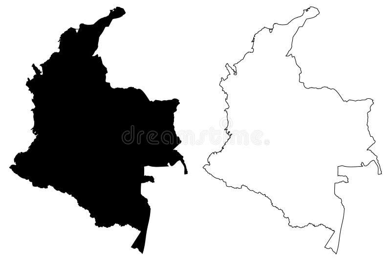 Colombia översiktsvektor vektor illustrationer