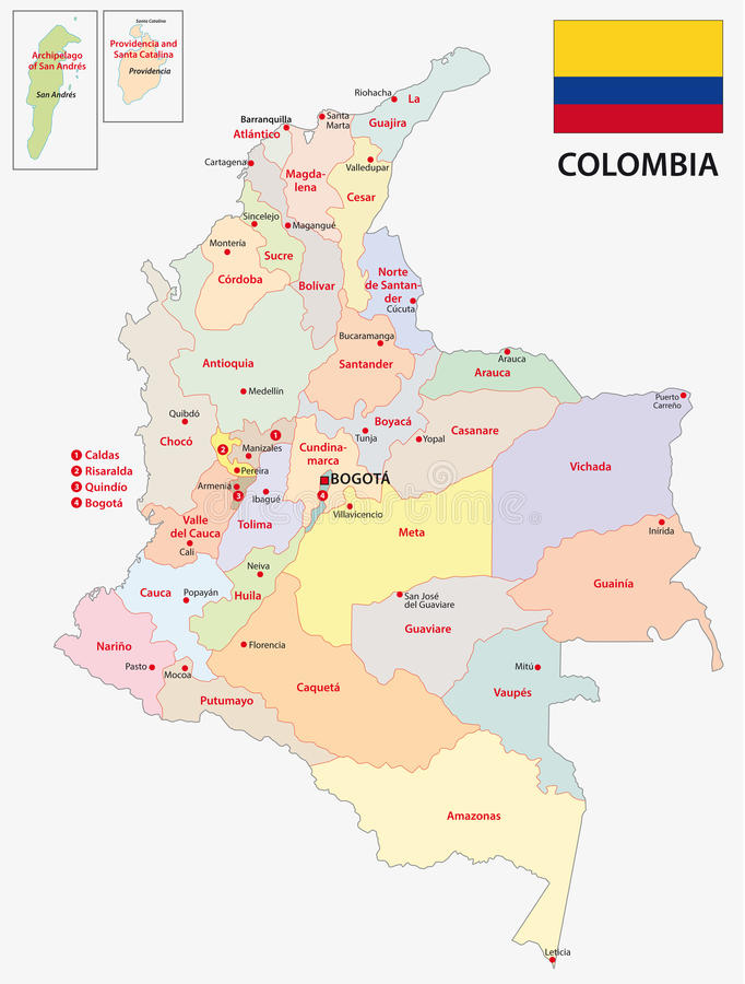 Colombia administrativ översikt med flaggan royaltyfri illustrationer