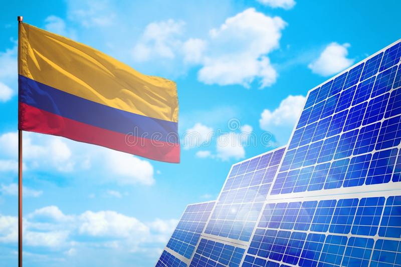 Colombia alternative energy, solar energy concept with flag industrial illustration - symbol of fight with global warming, 3D royalty free illustration