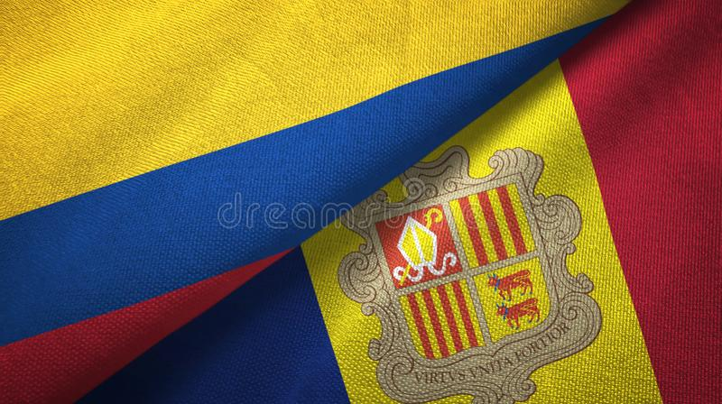 Colombia and Andorra two flags textile cloth, fabric texture. Colombia and Andorra two folded flags together royalty free illustration