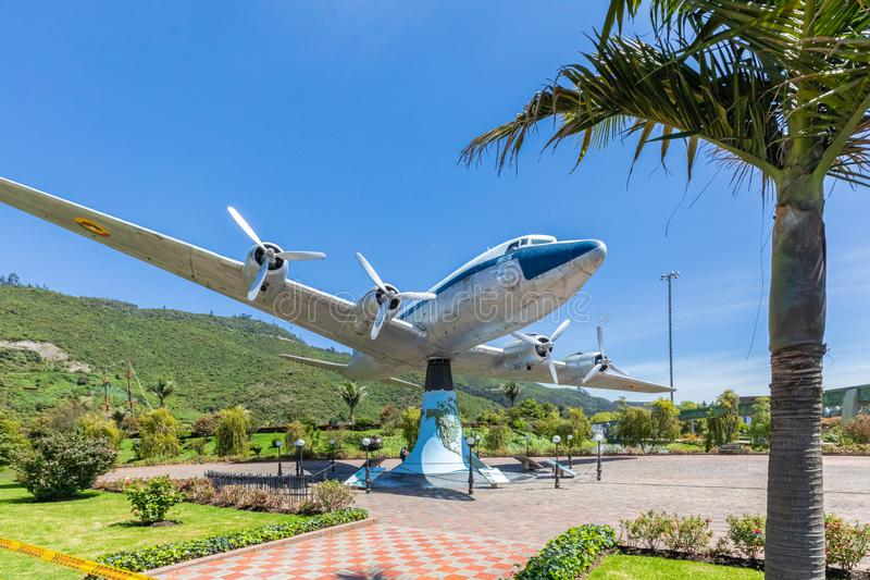 Colombia Bogota Jaime Duque Park HK 136 plane with blue sky. Bogota, June 27 This airplane exposed in the family amusement park named Duque built in 1983 in royalty free stock photography