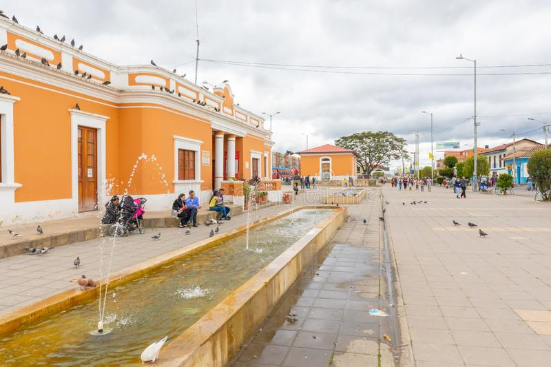 Colombia Cajica train station area outdoor view. Cajica, Colombia June 6 Train station of Cajica. The tourist train connects Bogota to Cajica every Saturday. The royalty free stock image