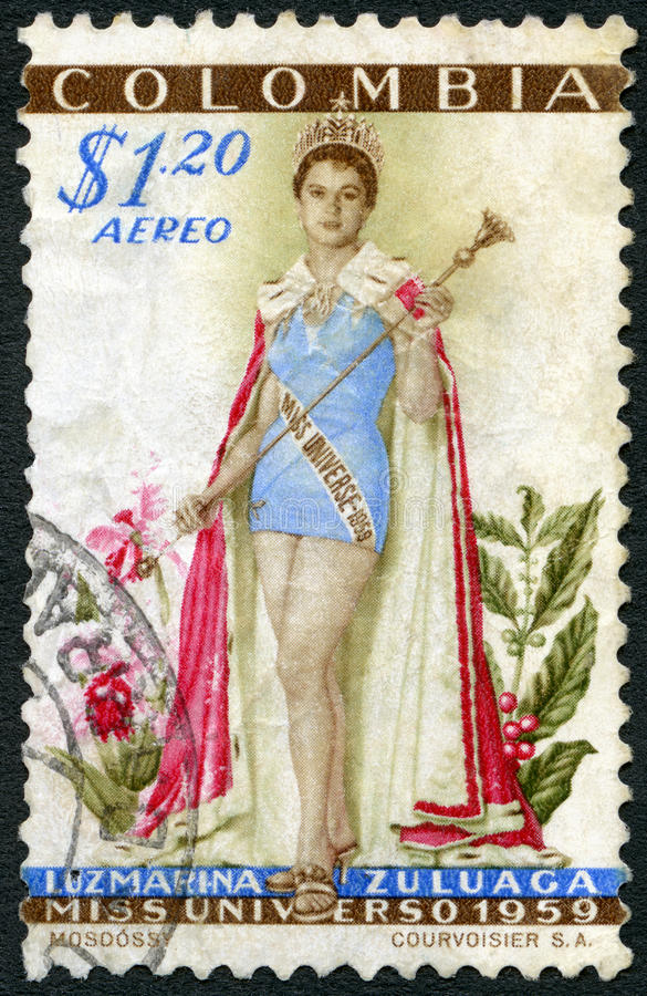 COLOMBIA - CIRCA 1959: demostraciones Luz Marina Zuluaga (llevada 1938), Srta. Universe 1958 imagenes de archivo