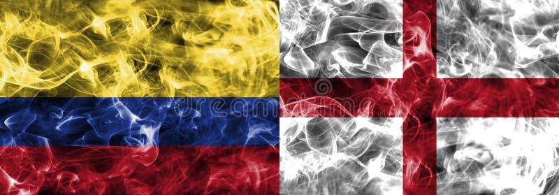 Colombia contra la bandera del humo de Inglaterra, finales cuartos, mundial 2018, Moscú, Rusia del fútbol fotos de archivo libres de regalías