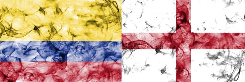 Colombia contra la bandera del humo de Inglaterra, finales cuartos, mundial 2018, Moscú, Rusia del fútbol stock de ilustración