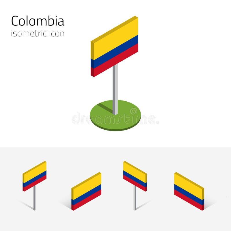 Colombia 3D flagga, vektoruppsättning av isometriska symboler royaltyfri illustrationer