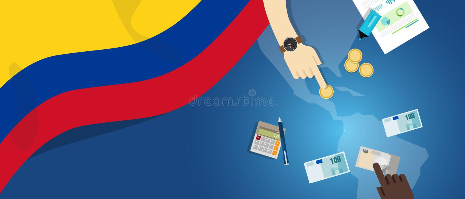 Colombia economy fiscal money trade concept illustration of financial banking budget with flag map and currency. Vector royalty free illustration