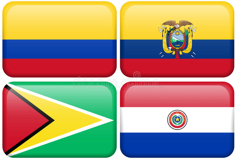 Colombia, Ecuador, Guyana, Paraguay vector illustration
