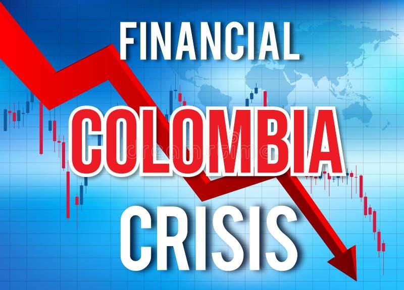 Colombia Financial Crisis Economic Collapse Market Crash Global Meltdown. Illustration royalty free illustration