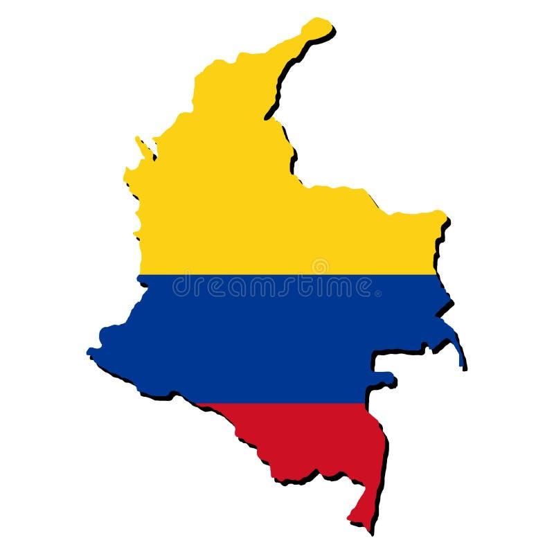 colombia flaga mapa ilustracji