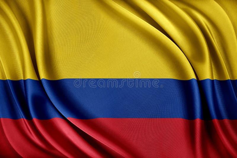 Colombia flagga Flagga med en glansig siden- textur royaltyfri illustrationer