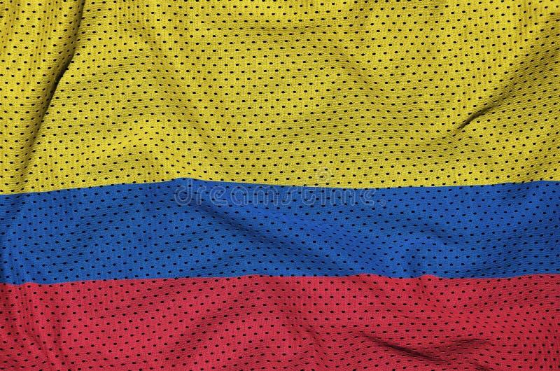 Colombia flagga som skrivs ut på en fabri för ingrepp för polyesternylonsportswear royaltyfria foton