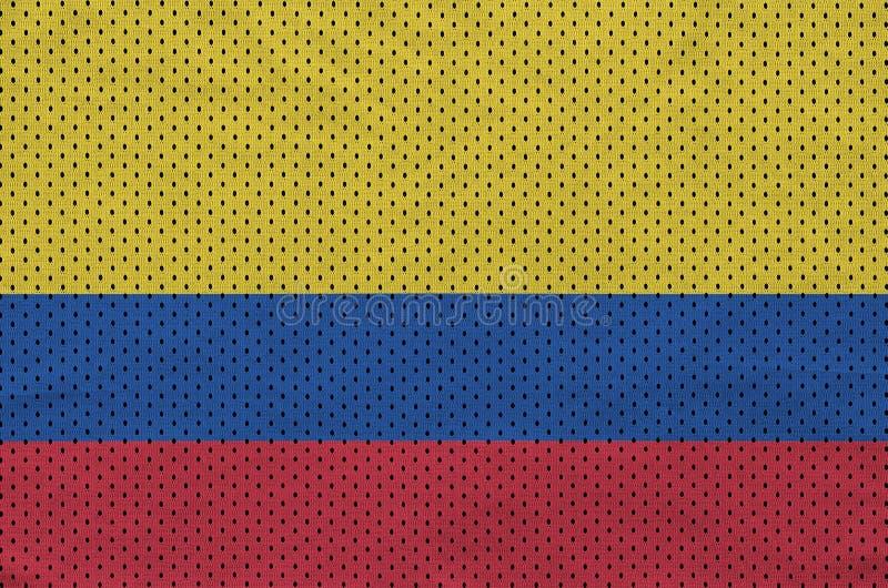 Colombia flagga som skrivs ut på en fabri för ingrepp för polyesternylonsportswear arkivbilder
