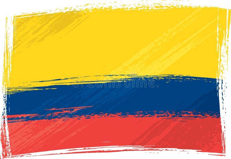 colombia flaggagrunge stock illustrationer