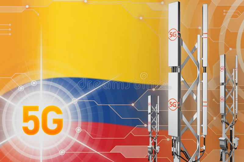Colombia 5G industrial illustration, huge cellular network mast or tower on digital background with the flag - 3D Illustration. Colombia 5G network industrial royalty free illustration