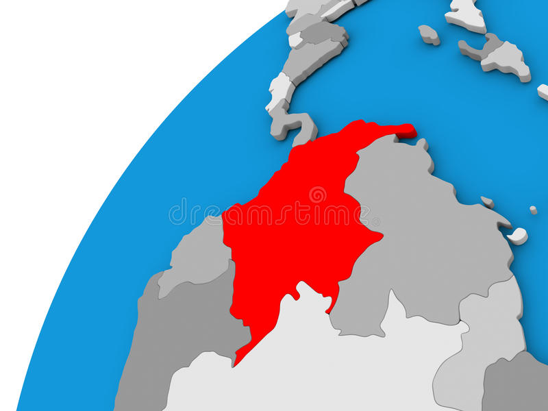 Colombia on globe in red. Colombia highlighted in red on globe with visible country borders. 3D illustration stock illustration