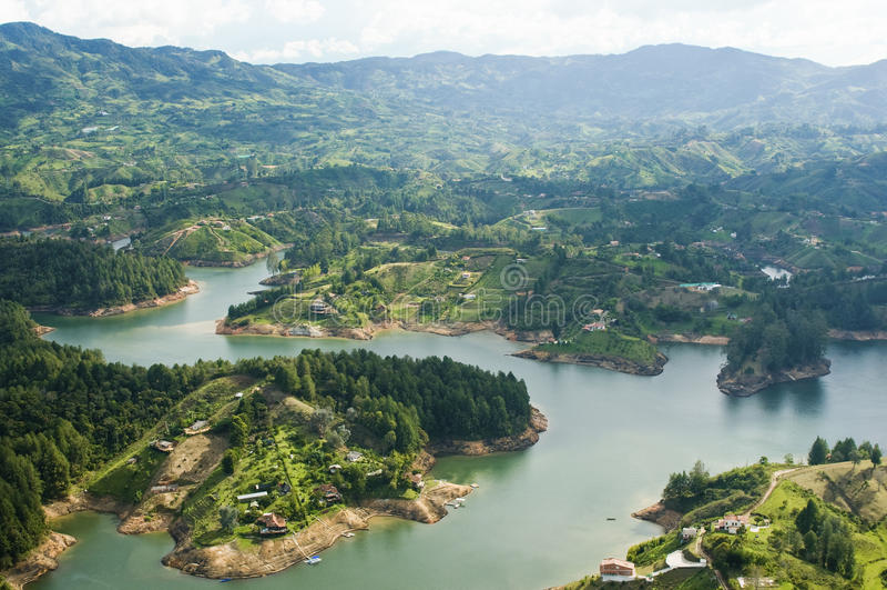 colombia guatapelake royaltyfri fotografi
