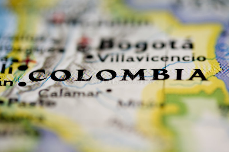 Colombia Map. Shot of Colombia on a map in close up with blur