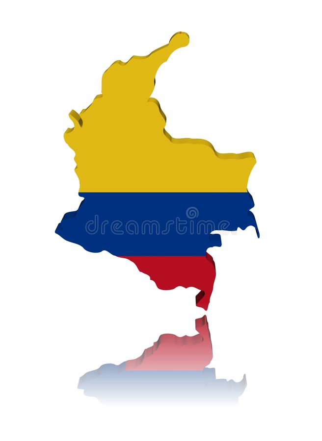 Download Colombia Map Flag With Reflection Stock Illustration - Image: 14736370