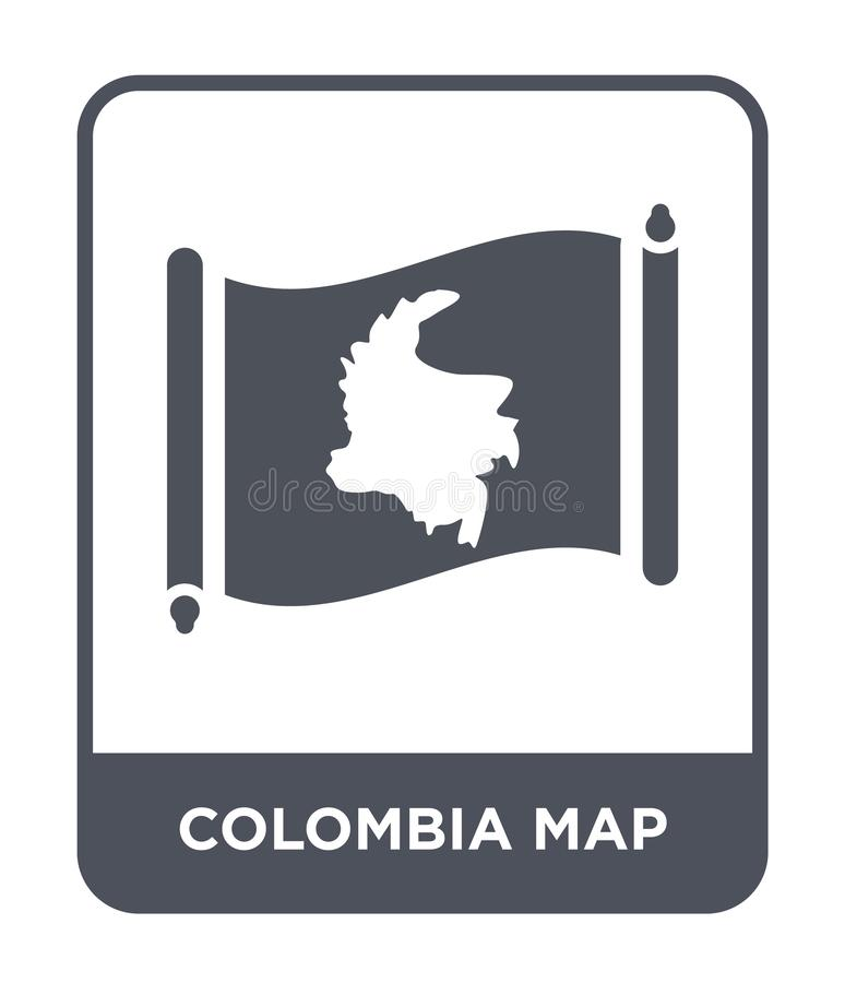 Colombia map icon in trendy design style. colombia map icon isolated on white background. colombia map vector icon simple and. Modern flat symbol for web site stock illustration
