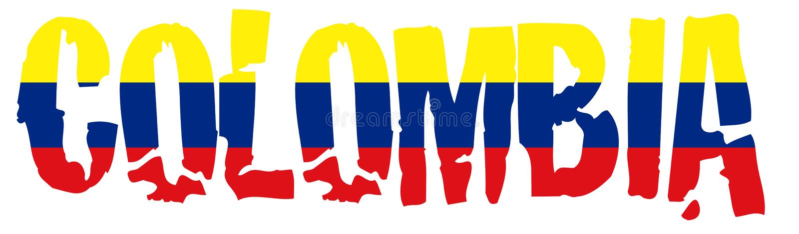 Colombia name with flag. Illustration of the Colombia flag and name royalty free illustration