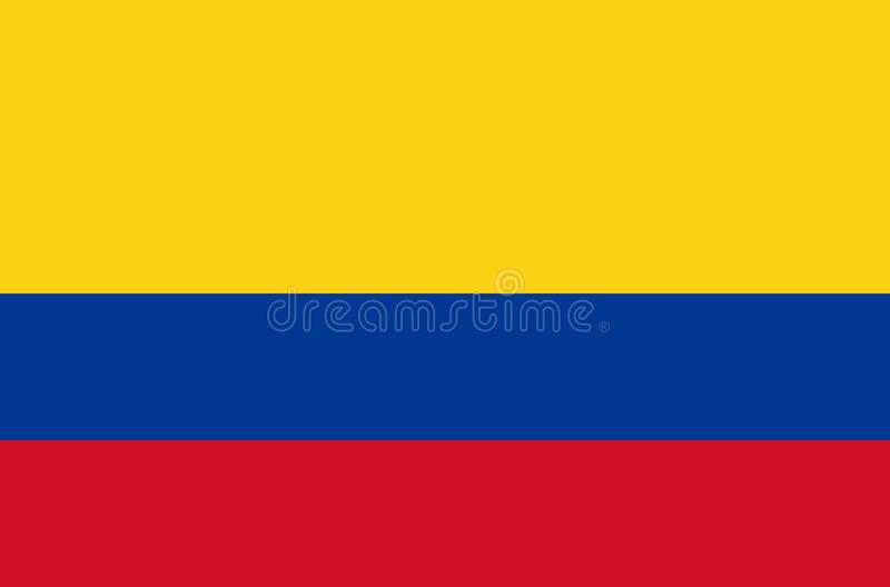Colombia national flag in accurate colors, official flag of colombia in exact colors. Real colors stock illustration