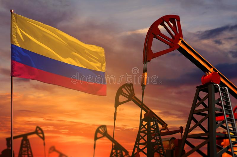 Colombia oil industry concept. Industrial illustration - Colombia flag and oil wells with the red and blue sunset or sunrise sky royalty free illustration