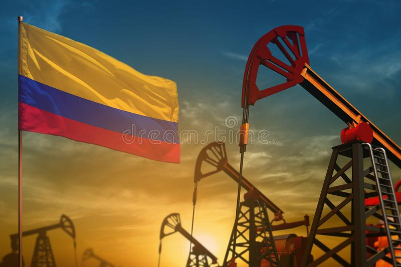 Colombia oil industry concept. Industrial illustration - Colombia flag and oil wells against the blue and yellow sunset sky royalty free illustration