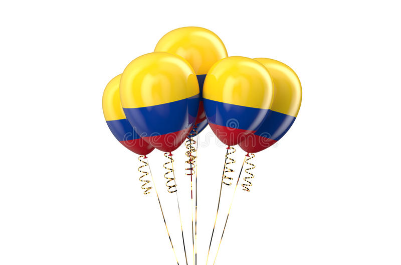 Colombia patriotic balloons, holyday concept. Isolated on white background royalty free illustration