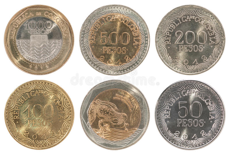 Colombia pesos coin full set. A complete set of new Colombian coins on white background royalty free stock images