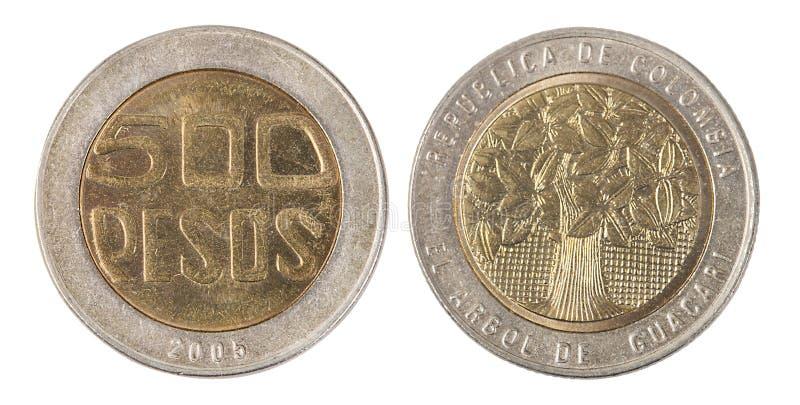 Colombia 500 Pesos mynt royaltyfri foto