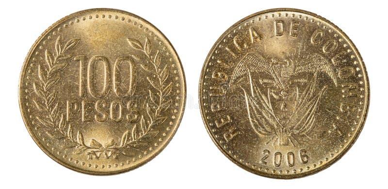 Colombia 100 Pesos mynt fotografering för bildbyråer
