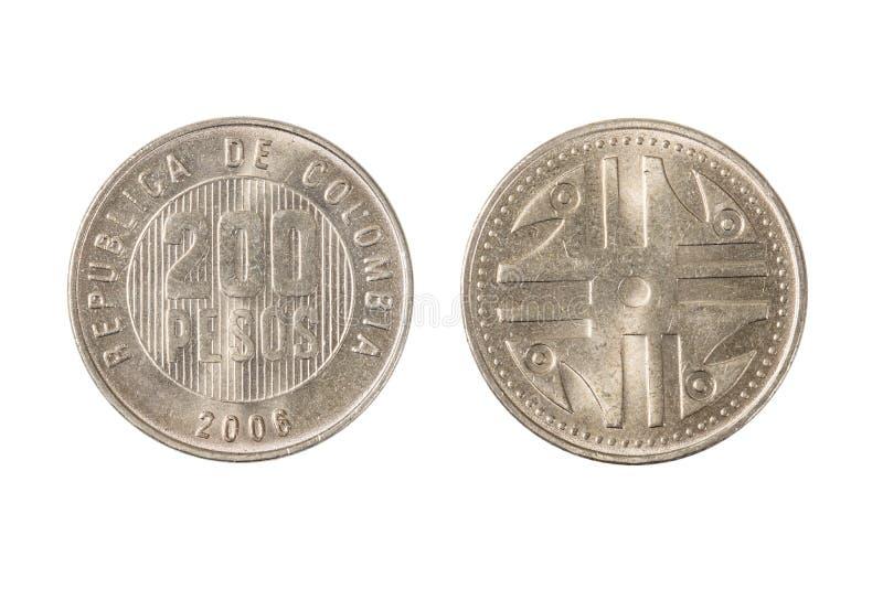 Colombia 200 Pesos mynt royaltyfria foton