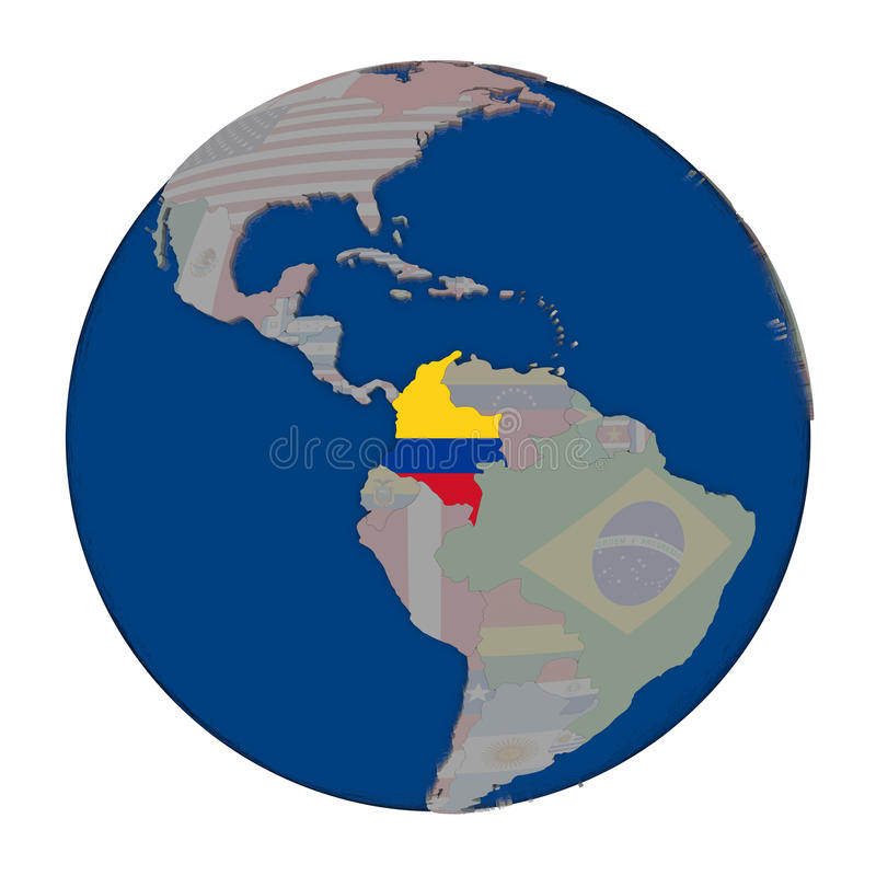 Colombia on political globe. Colombia with embedded national flag on political globe. 3D illustration isolated on white background vector illustration
