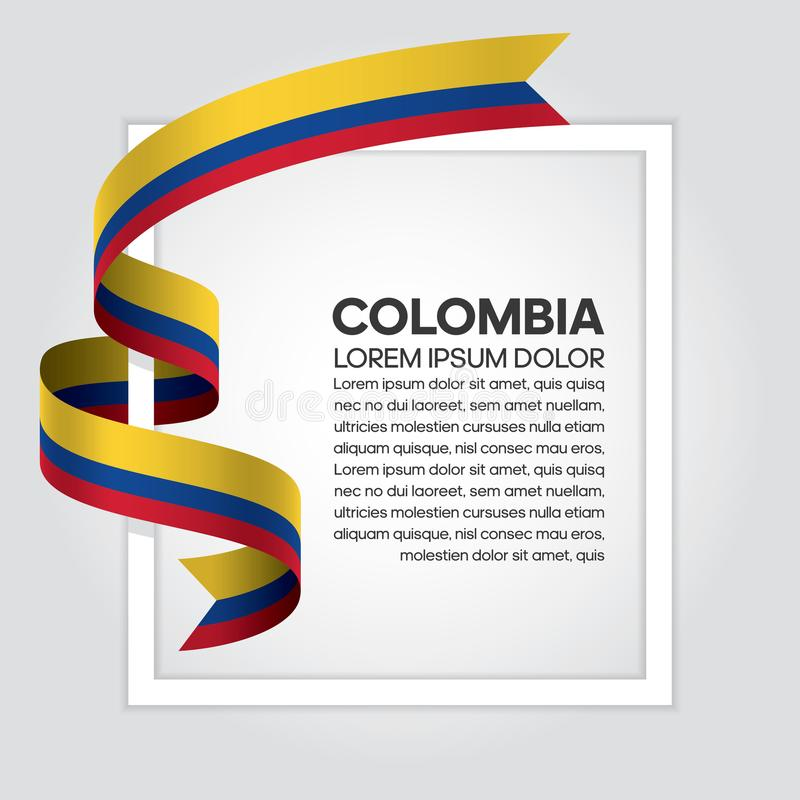 Colombia flag background. Colombia ribbon flag on background creative template. Simple work and adjusted to suit your needs royalty free illustration