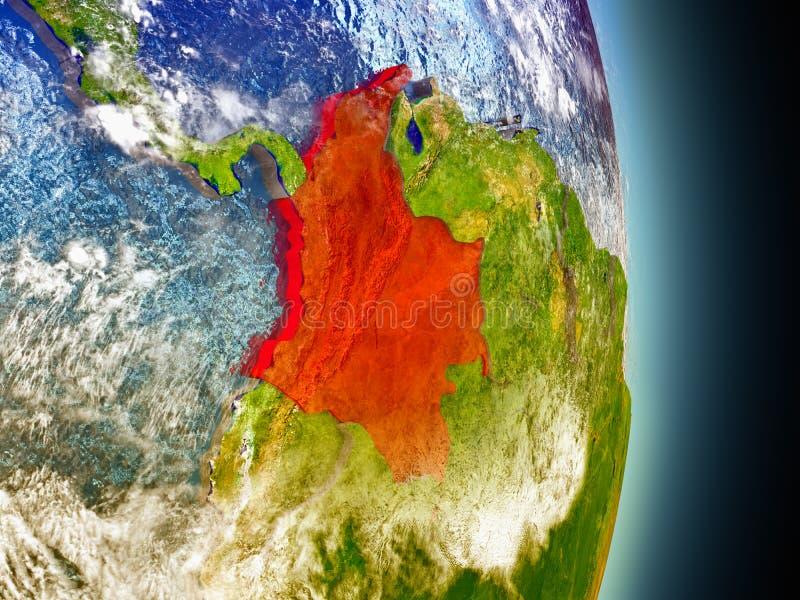 Colombia in rood van ruimte stock illustratie