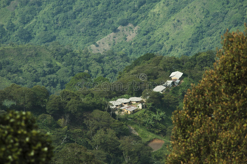 Colombia - settlement in the rainforest of the Sierra Nevada de Santa Marta. Colombia - rainforest in the Sierra Nevada de Santa Marta, one mountain range in royalty free stock photography