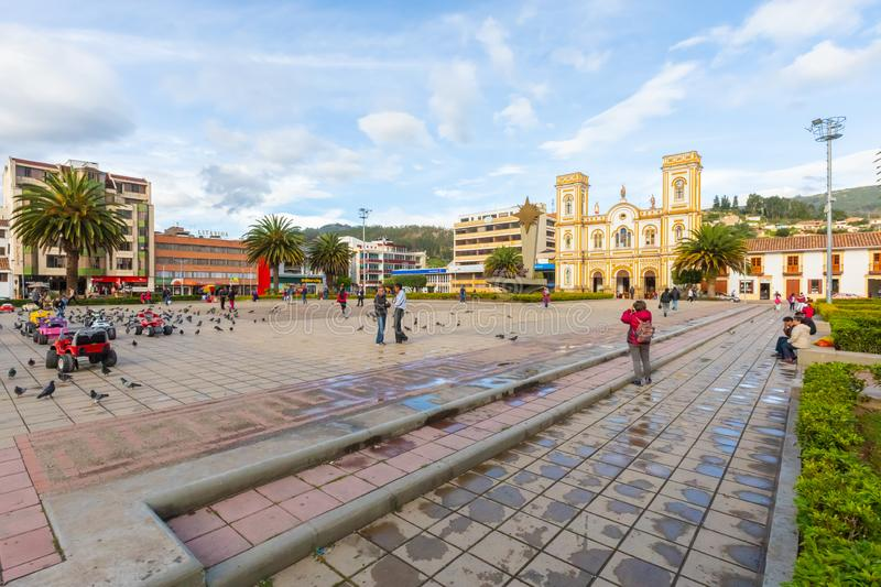 Colombia Sogamoso park square of Villa and San Martin of Tours cathedral. Sogamoso, Colombia  May 23  Saint Martin Church in Sogamoso village. Located in its royalty free stock photos
